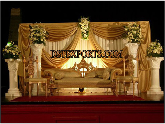 New asian wedding beautiful gold stage for Asian wedding stage decoration manchester