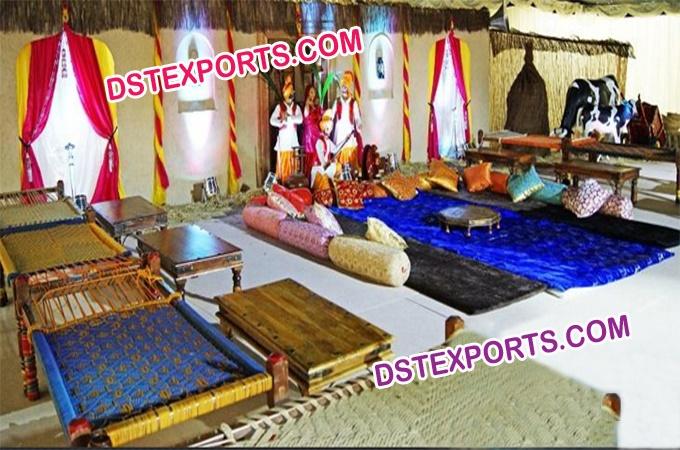 Punjabi village theme wedding stage decoration junglespirit Image collections